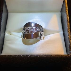 Chanel Diamond & 18K White Gold Ring Size 6